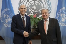 Secretary-General António Guterres (left) swears in Volker Türk, Assistant Secretary-General for Strategic Coordination in the Executive Office of the Secretary-General.<small>© UN Photo / Evan Schneider</small>