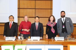 (f.l.t.r.): Liu Zhenmin, Under-Secretary-General, UN Department of Economic and Social Affairs; Karin Kneissl; UNIDO's LI Yong; Marie Chatardová, President, UN Economic and Social Council and Abdelrahman Ayman Ibrahim Mohamed, Global President, AIESEC.<small>© UNIDO United Nations Industrial Development Organization</small>