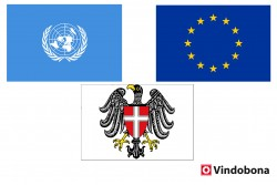EU and UN - 40 Years Together in Vienna<small>&copy Viennese-EU-UN Crossed flags by Vindobona.org</small>