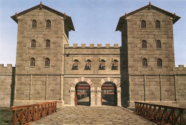 Reconstruction of the southwestern main gate to Vindobona, the Porta Decumana.<small>© Stadtarchäologie Wien / 7reasons</small>