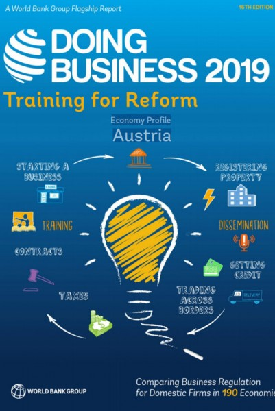 World Bank's Ease of Doing Business Index 2019: Austria falls from 22nd to 26th place.<small>© The World Bank Group</small>
