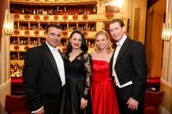 At the Vienna Opera Ball 2019: Zoran Zaev, Zorica Zaeva, Susanne Thier, Sebastian Kurz (l.t.r.)<small>© Bundeskanzleramt (BKA) / Dragan Tatic</small>
